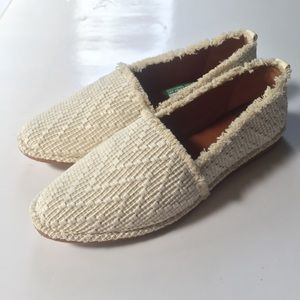 ☀️NWT FRYE Helena A Line Flats Woven White Leather